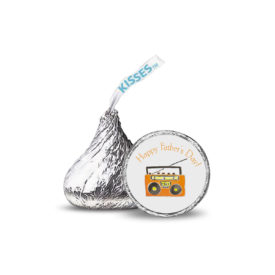 Boom box images adorns a small round sticker that fits on the Bottom of a Hershey's kiss.