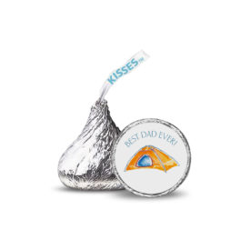 Small round sticker that fits on the bottom of a Hershey's kiss features a camping tent.
