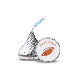 Football image adorns a sticker that fits on the bottom of a Hershey's kiss.