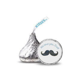 Mustache image adorns a small round sticker that fits on the bottom of a Hershey's kiss.