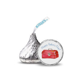 Small round sticker featuring a toolbox images that fits on the bottom of a Hershey's kiss.