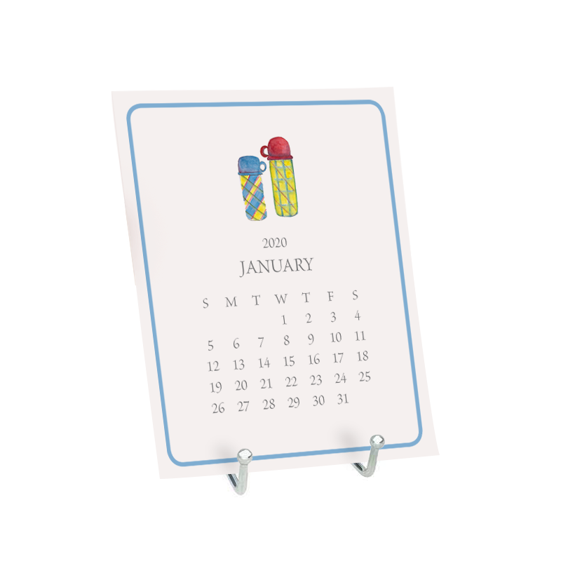 Desk Calendar the month of January featuring a watercolor image of a thermos.