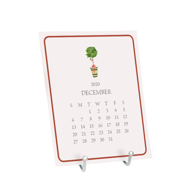 Desk Calendar the month of January featuring a watercolor image of a holiday topiary tree.