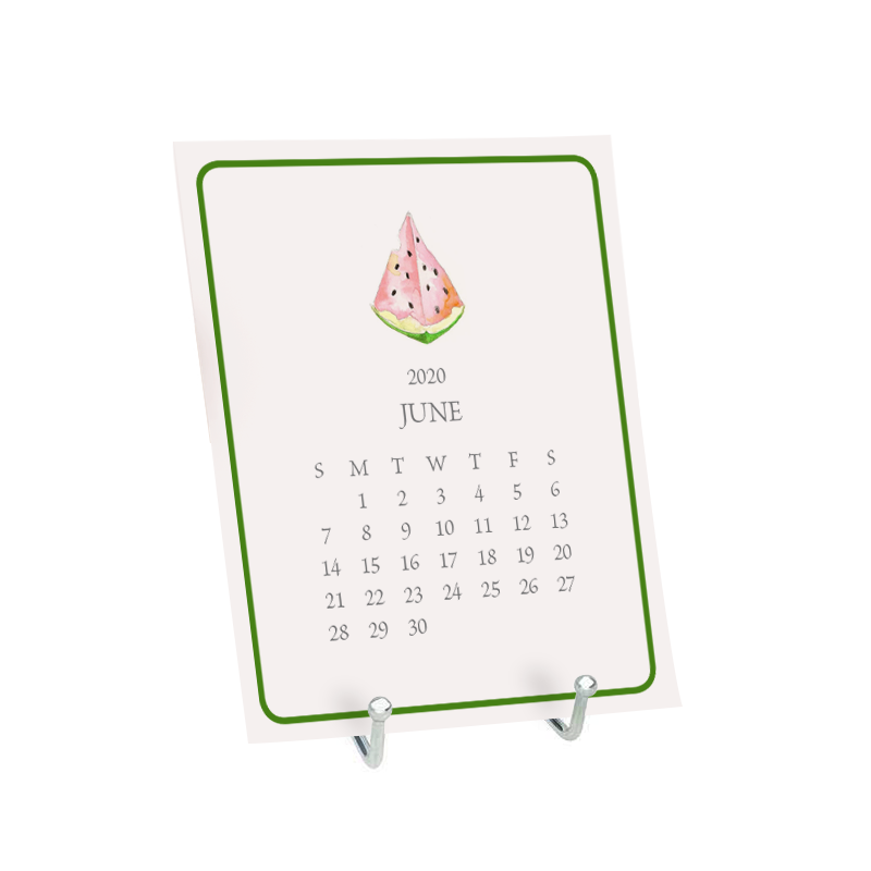 Desk Calendar the month of January featuring a watercolor image of a watermelon.