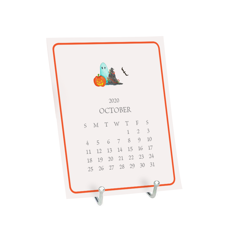 Desk Calendar the month of January featuring a watercolor image of a halloween scene.