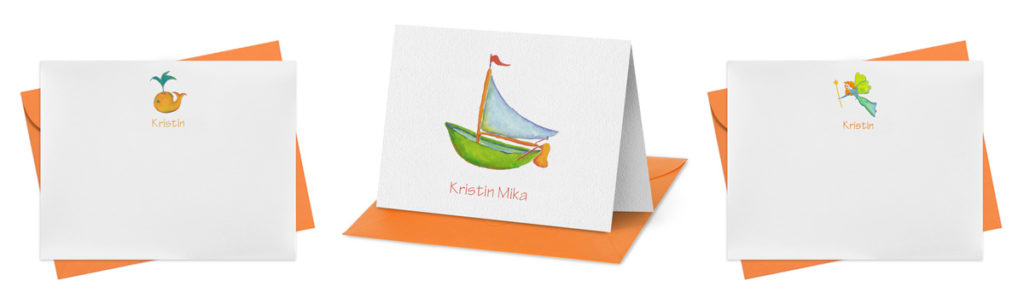 Thank you notes featuring hand painted watercolor images that can be personalized.