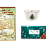 Image of a Spode candy bowl, Cotton Country Collection Cookbook and Frango Mint Candy.