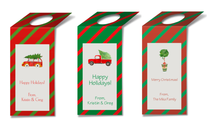 Personalized wine tags featuring holiday images based on watercolors.