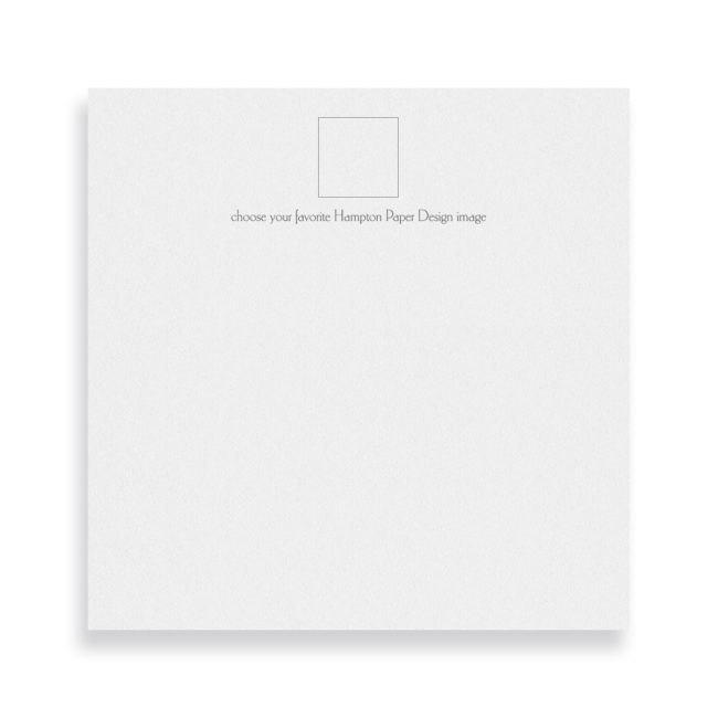 Square notepad that can be personalized and customized with an image.