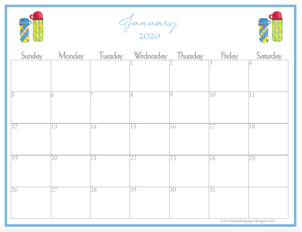 January of a 12 month calendar for 2020 featuring watercolor images.