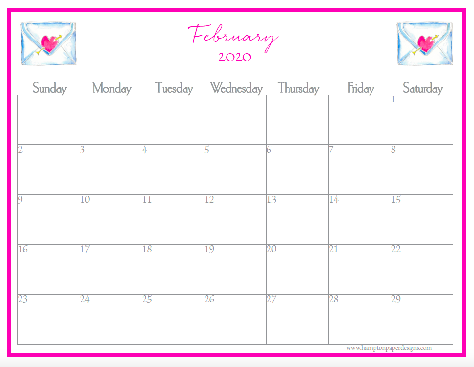 February of a 12 month calendar for 2020 featuring watercolor images.