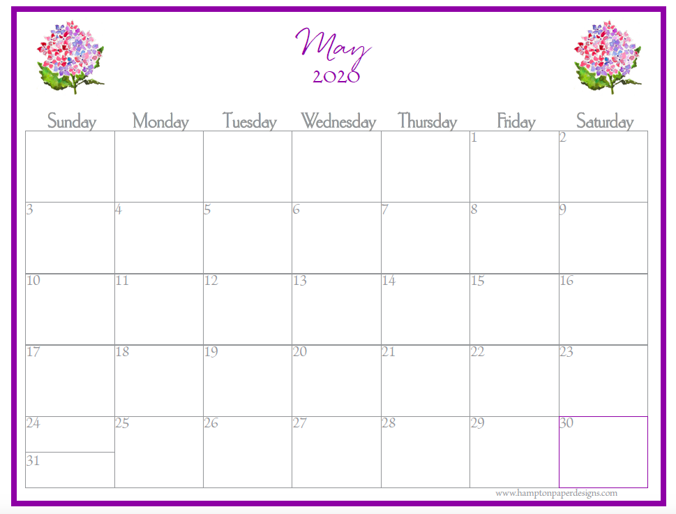 The month of May on a 12 month calendar for 2020 featuring watercolor images.