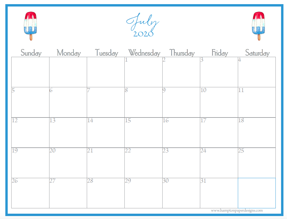 The month of July on a 12 month calendar for 2020 featuring watercolor images.