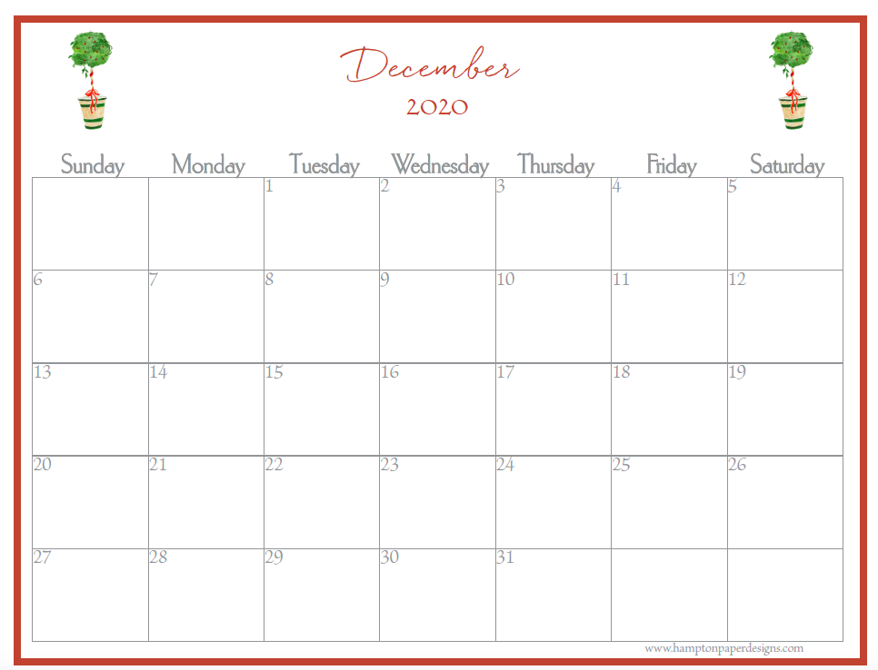 The month of December on a 12 month calendar for 2020 featuring watercolor images.