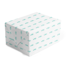 teal monogram gift wrap