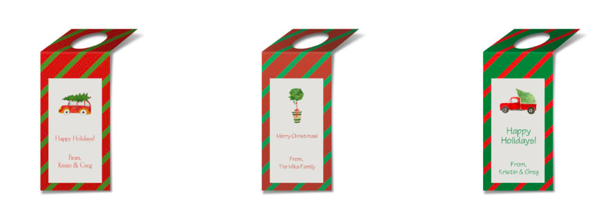 Personalized Wine Tags featuring holiday watercolor images.