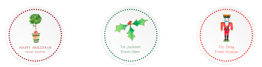 Round Christmas Gift Stickers featuring water color images.