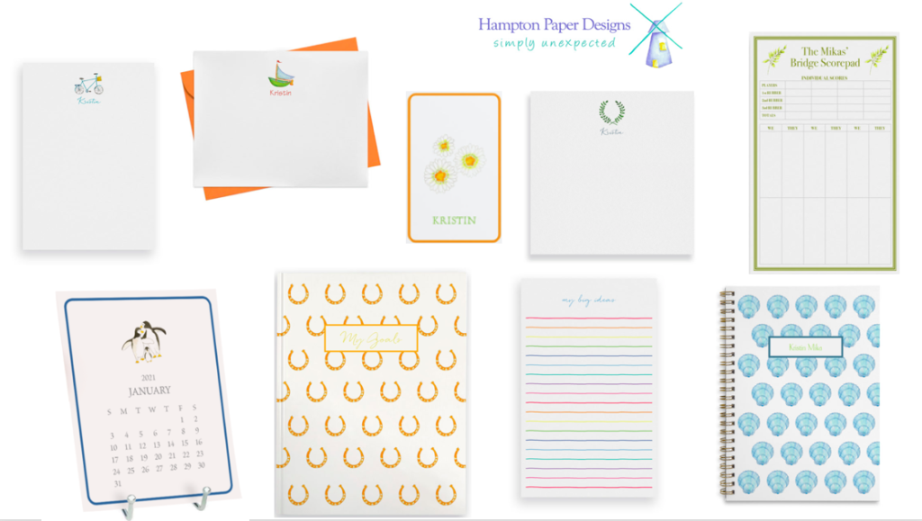 Great gifts under $50.00. Images features personalized notepads and notebooks.